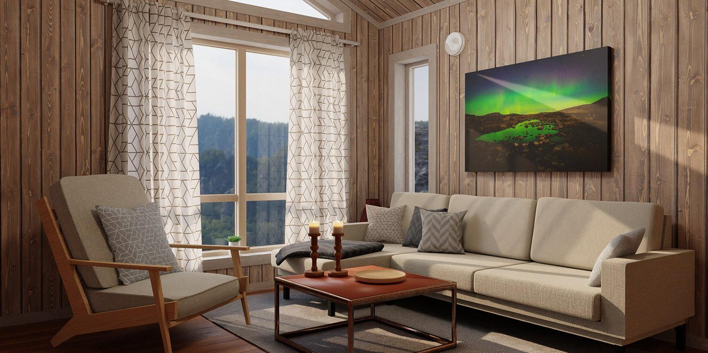 landskapsbilde på veggen i ei stue
